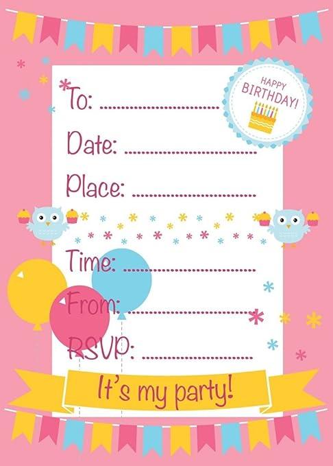 Invitaciones para fiesta de cumpleaños, Color Rosa, búhos y ...