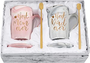 Gift for Mom Dad - Best Mom Dad Ever Coffee Mug - Mother's Father's Day Gift for Parents from Daughter Son - Anniversary Couple Gift - Marble Set for Christmas Birthday 14 Oz with Box, Coaster, Spoon