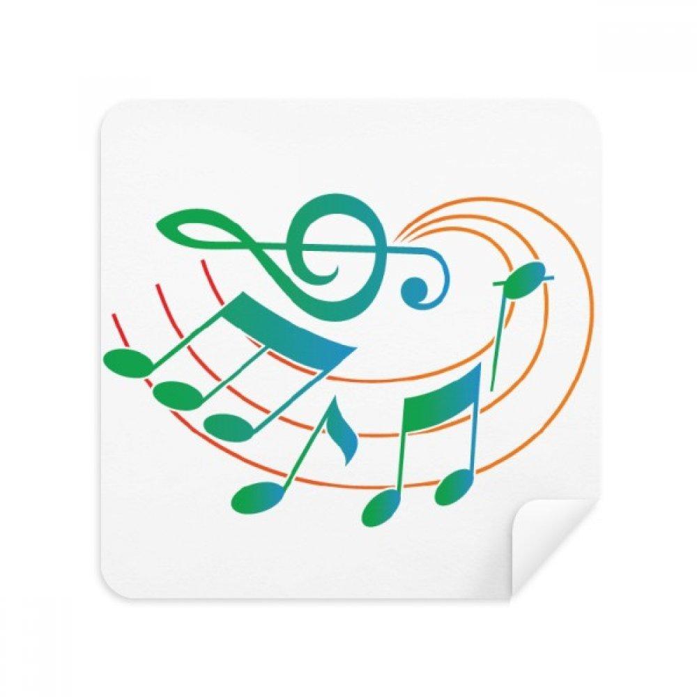 音楽表記グリーンオレンジパターン電話画面クリーナーメガネクリーニングクロススエードファブリック2個   B07C95N3KM
