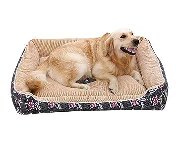Suministros para Mascotas Cálido y Suave Cama de Perros y Gatos Cuatro Temporadas Disponibles Desmontable y Extraíble Conjunto de Cuatro Piezas Negro M: ...