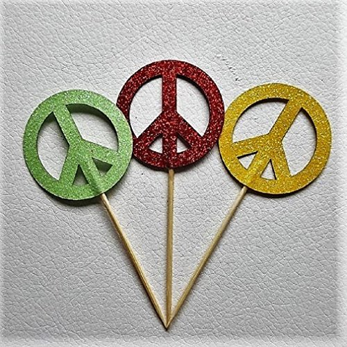 12 Glitter Peace Sign Cupcake Toppers