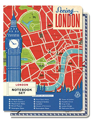 Cavallini Papers & Co Notebook Set Vintage London, 4-Inch by 5.5-Inch , 2 Notebooks 96 pages