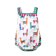 Lamuusaa Newborn Infant Toddler Baby Girls Colourful Alpaca Pattern Tank Tops Summer Bodysuit Romper Jumpsuit (70/0-6M, Multicoloured)