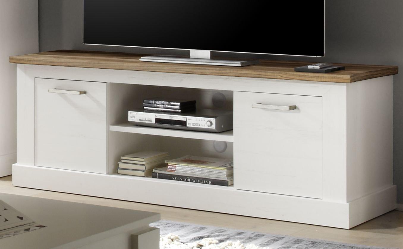 Trendteam Wohnzimmer Lowboard Fernsehschrank Fernsehtisch Toronto, 160 X 60  X 52 Cm In Korpus Pinie Weiß, Absetzung Nussbaum Satin (NB.) Im Landhausstil:  ...