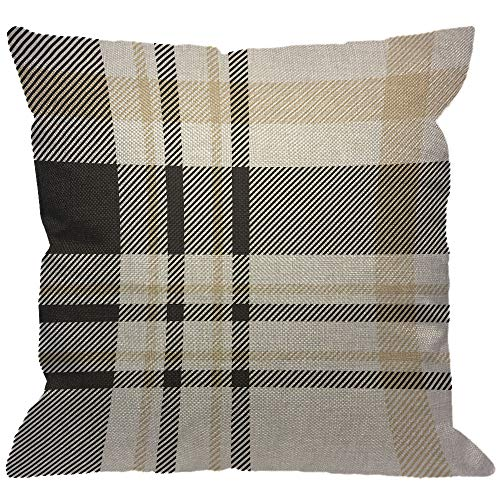 HGOD DESIGNS Plaid Check Throw Pillow Cover,Traditional Checkered Gingham in Palette of Black Beige and White Decorative Pillow Cases Cotton Linen Square Cushion Covers for Home Sofa Couch 18x18 inch