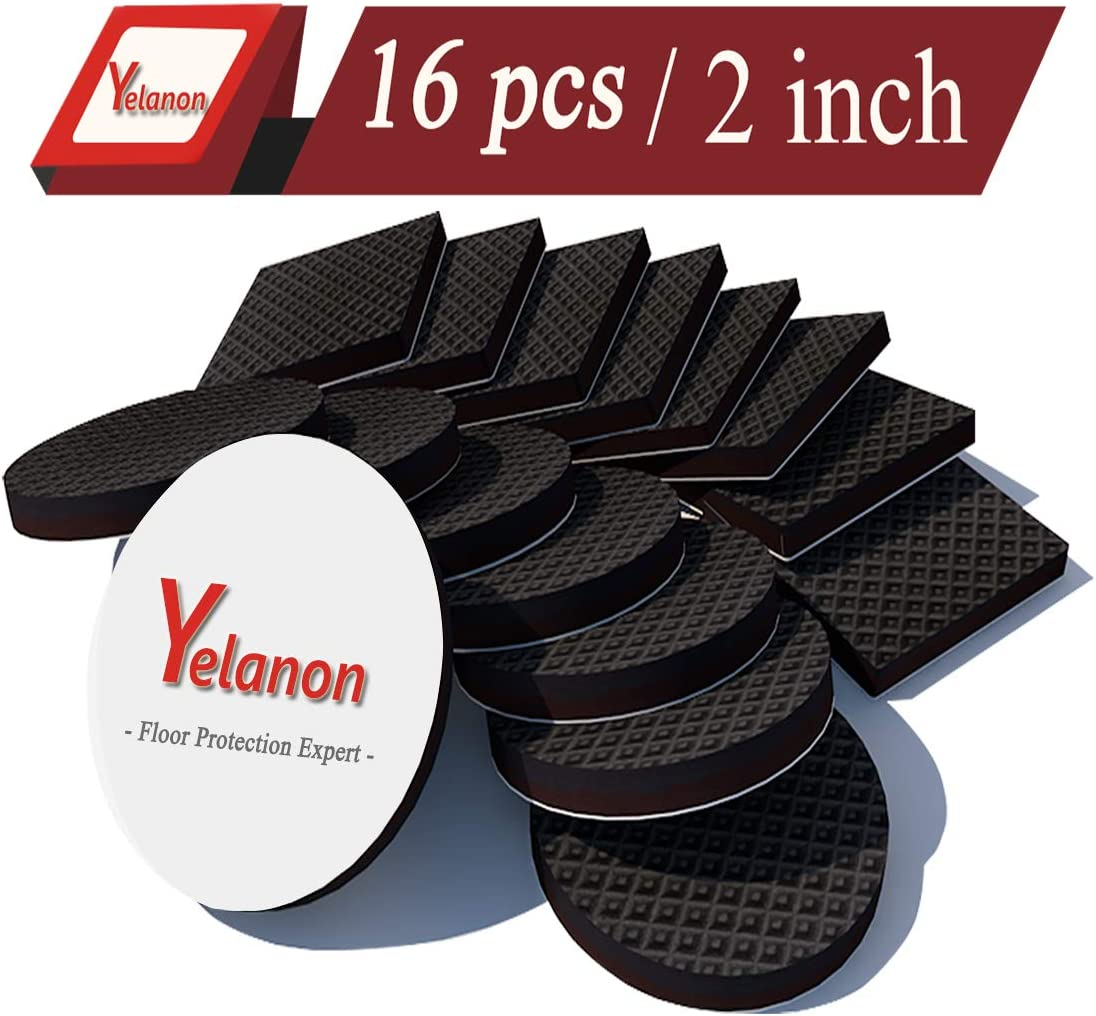 "Non Slip Furniture Pads 16 pcs 2"" Anti Skid Furniture Pads Stopper Self Adhesive Rubber Feet Furniture Pads Wood Floor Protector for Furniture Grippers on Hardwood Floor - Protectors for Chair Legs"