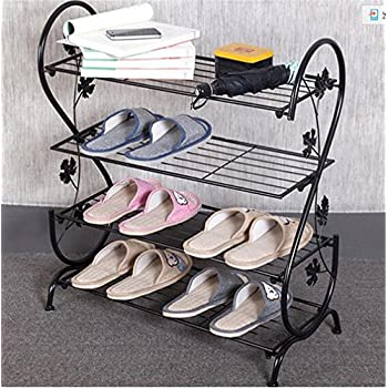 AISHN Continental Iron Multi Layer Simple Shoe Rack Storage Metal Small  Four Quarters Shoe Stand