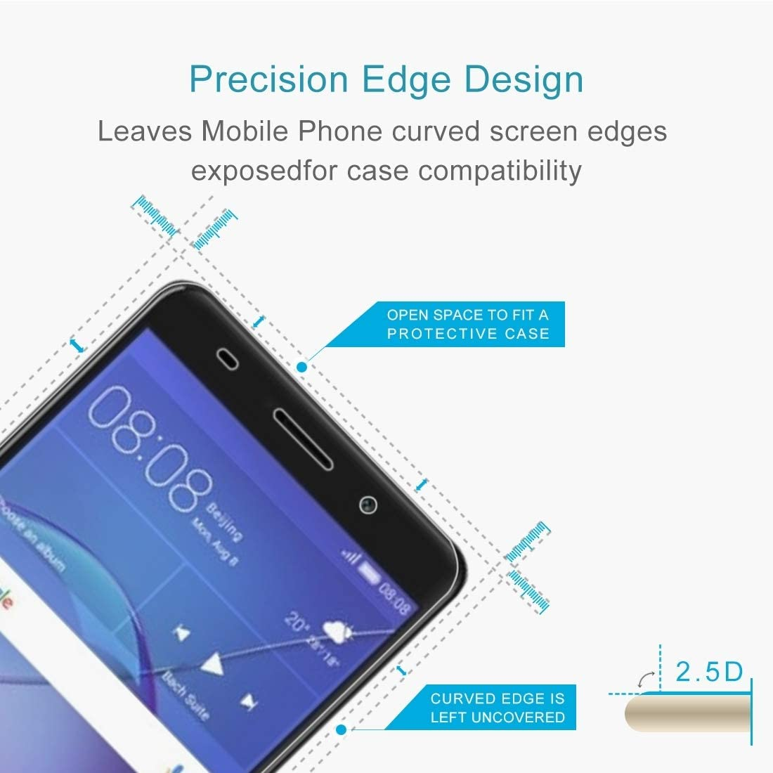 LIUDSASSBFQINGR Screen Protectors 100 PCS for Huawei Y3 2017 0.3mm 9H Surface Hardness 2.5D Explosion-Proof Full Screen Tempered Glass Screen Film Cell Phones Accessories