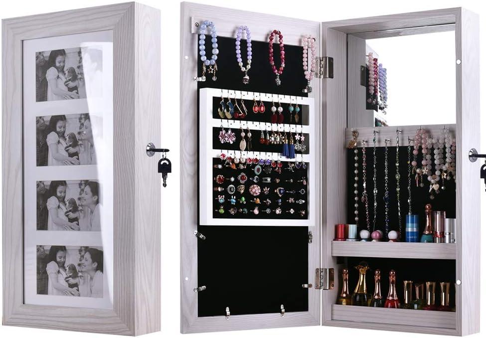 Moskado Jewelry Armoire with Photo Frame Wall Mount White Key Storage Cabinet 11.81 x 3.54 x 23.62 inch
