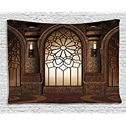 Ambesonne Gothic Decor Tapestry by, Arch Window with Floral Wrought Iron Art and Candles inside Medieval Church Picture, Wall Hanging for Bedroom Living Room Dorm, 80WX60L Inches, Brown