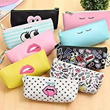 Katoot@ Fashion Modern Girl pencil case for girls Cute PU Leather waterproof stationery pouch Storage bags office school supplies