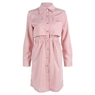 Albina Collins Casual Brand Women Office Dress Pink Loose Shirt Dresses Robe Vintage Retro Midi Tunic