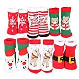 Baby Cotton Christmas Socks,Cute Warm Winter Stocking for Unisex Kids Toddler Baby Girls or Baby Boys(6 Pairs) (S)