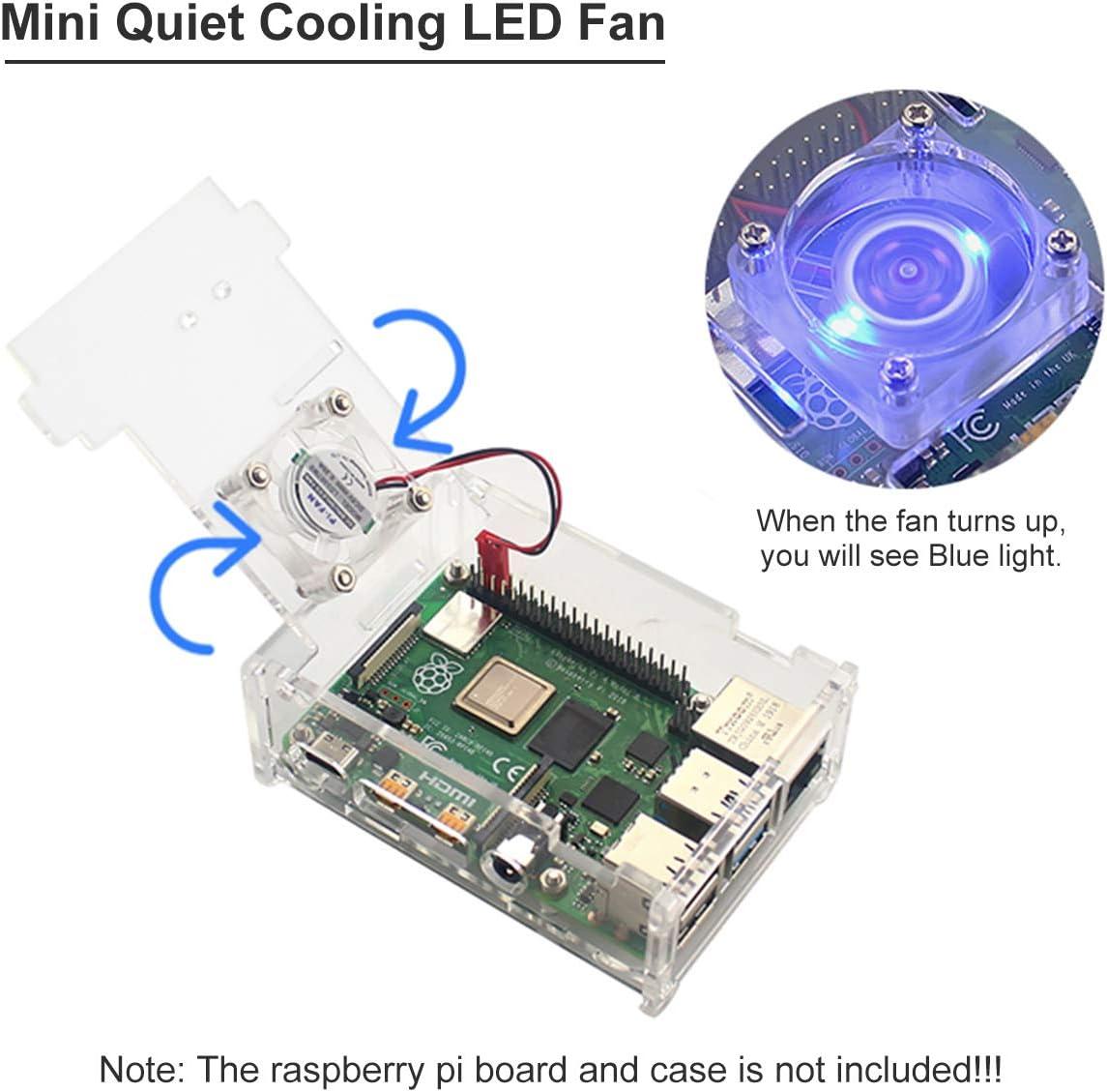 Seamuing Ventilador Raspberry Pi 4 Ventilador LED 5V 30 mm ...