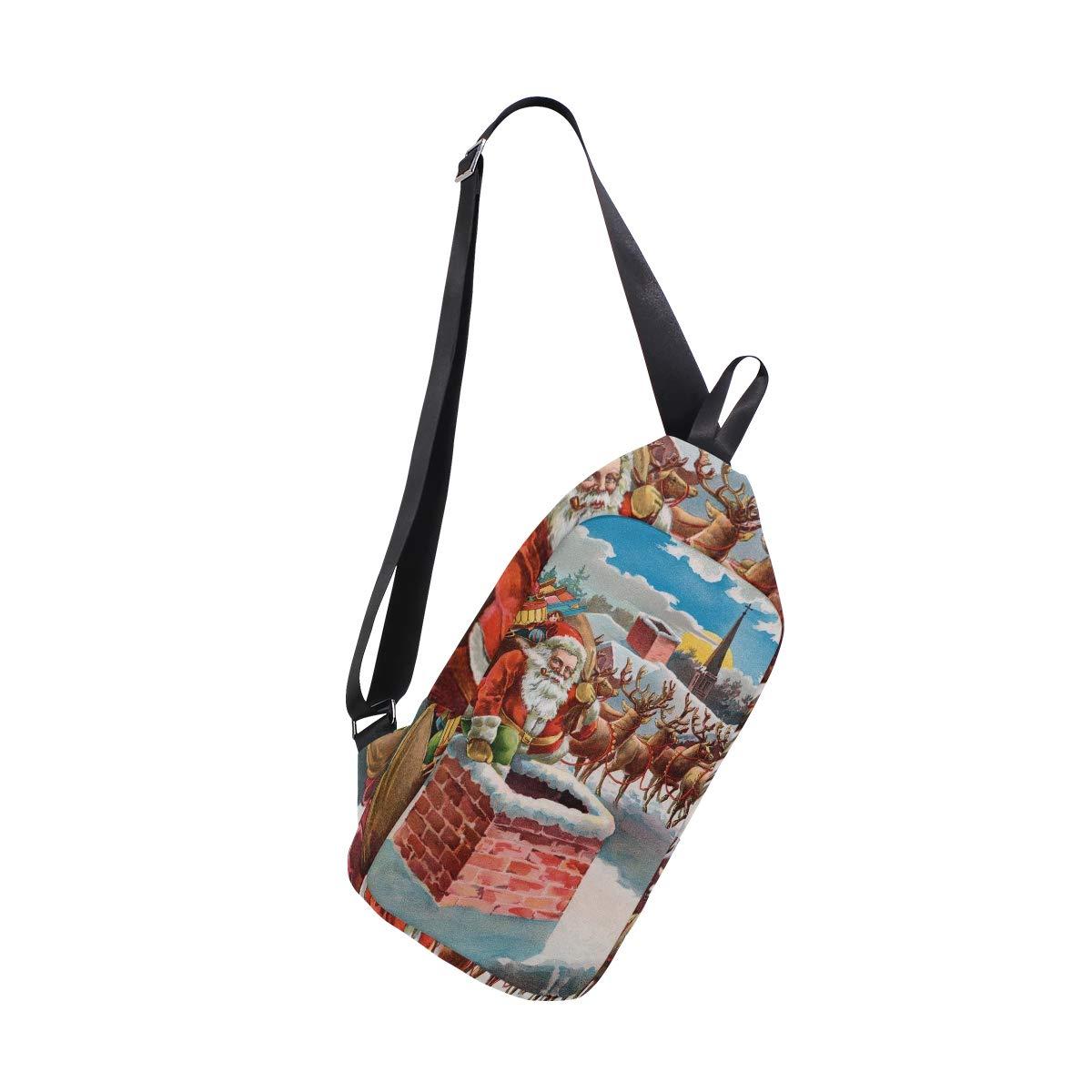 TFONE Vintage Christmas Santa Claus Reindeer Crossbody Bag Lightweight Chest Shoulder Messenger Pack Backpack Sling Bag