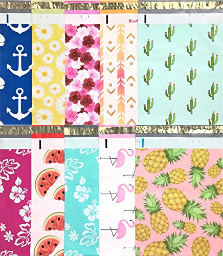 Designer Poly Mailers 10x13 : Sample Variety Pack ~ Anchor, Daisy, Hibiscus, Arrow, Cactus, Pink & Mint Aloha, Watermelon, Flamingo, Pineapple Printed Self Sealing Shipping Poly Envelopes Bag (30 Pcs) (Shipping Envelopes 10x13)