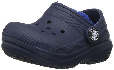 Crocs Kids' Classic Lined K Clog, Navy/Cerulean Blue, 4 M US