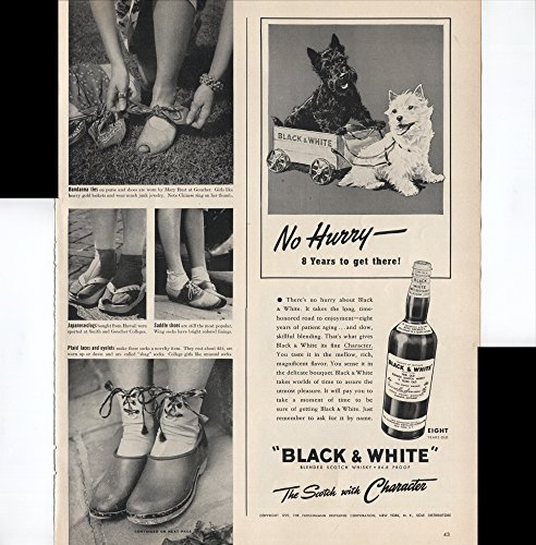(Black & White Blended Scotch Whisky The Scotch With Character No Hurry 8 Years To Get There Scottish Terrier And Yorkshire Terrier 1939 Vintage Antique Advertisement)