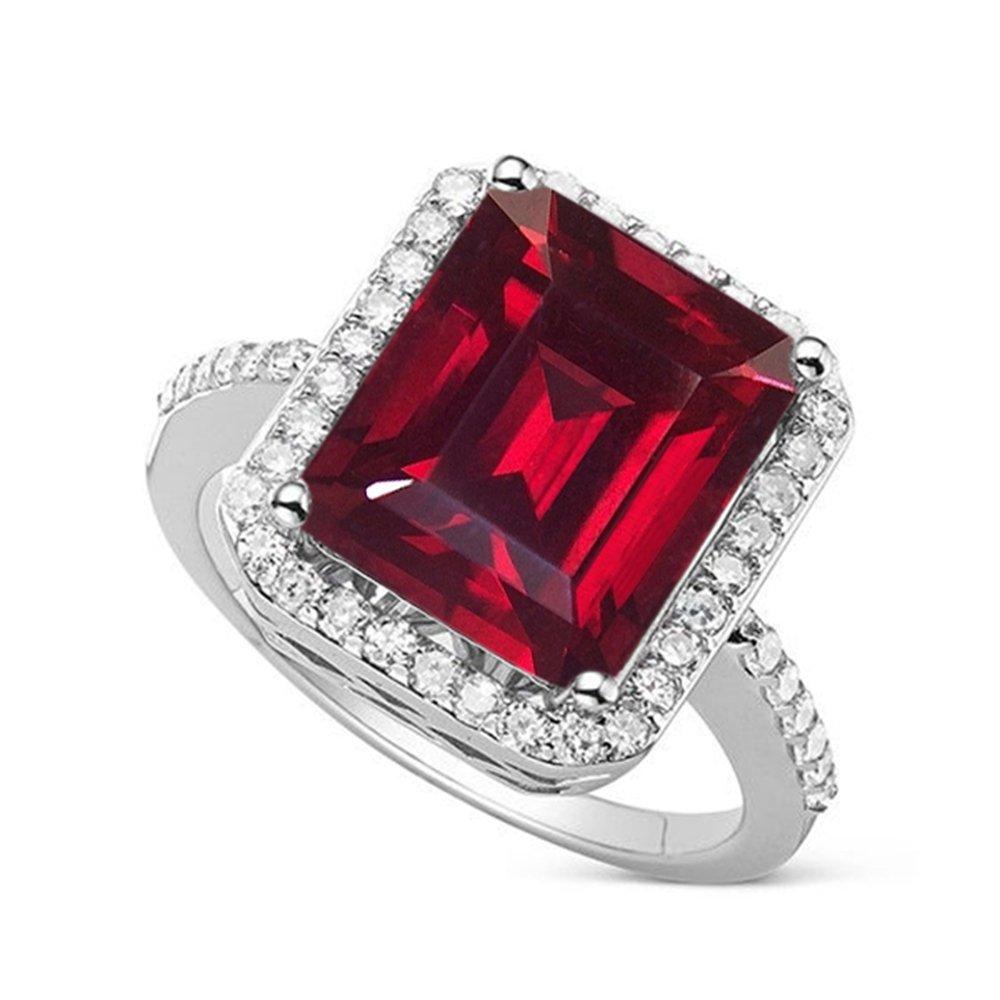 Vorra Vorra Vorra Fashion Damen Solitär mit Akzenten Verlobungsring Smaragdschliff Rot Granat ccdf73