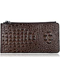 Embossed crocodile Genuine Leather Zipper Wallet Purse with Gift Box 218-2311