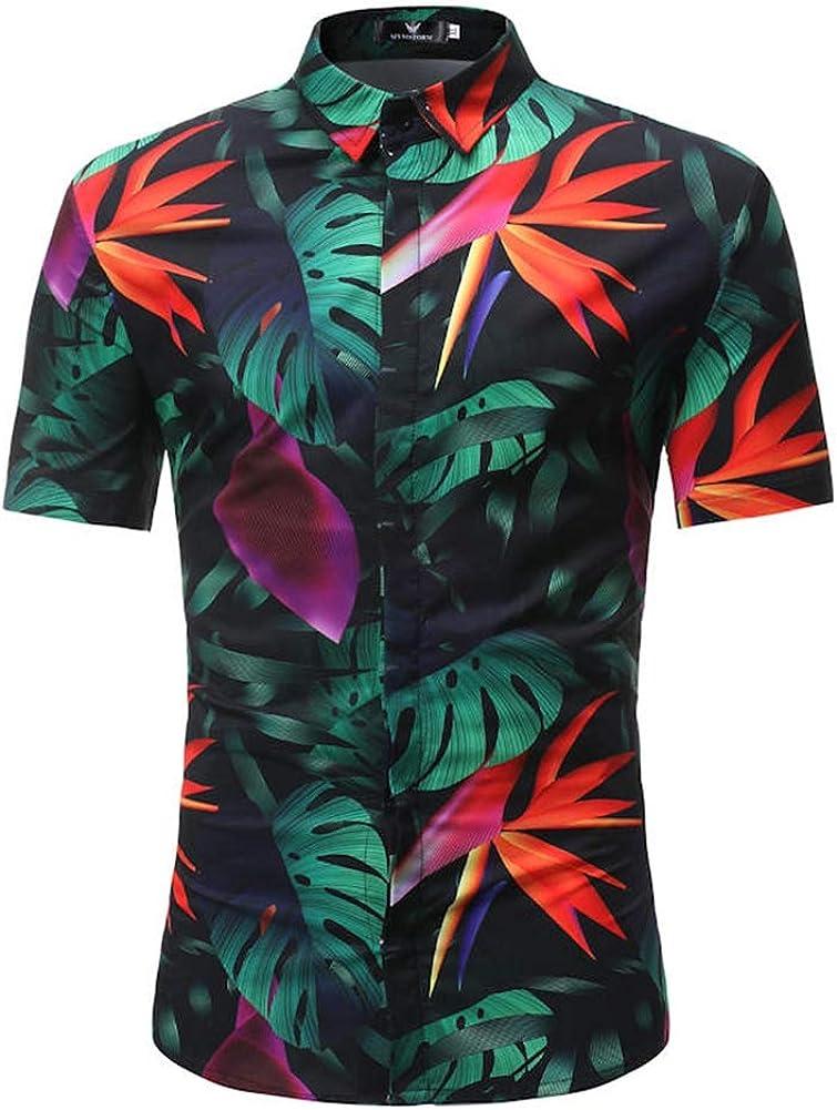 s114,XXL QHF Mens Hawaiian Printed Shirt Men Shirt Beach Casual Short Sleeve Shirt
