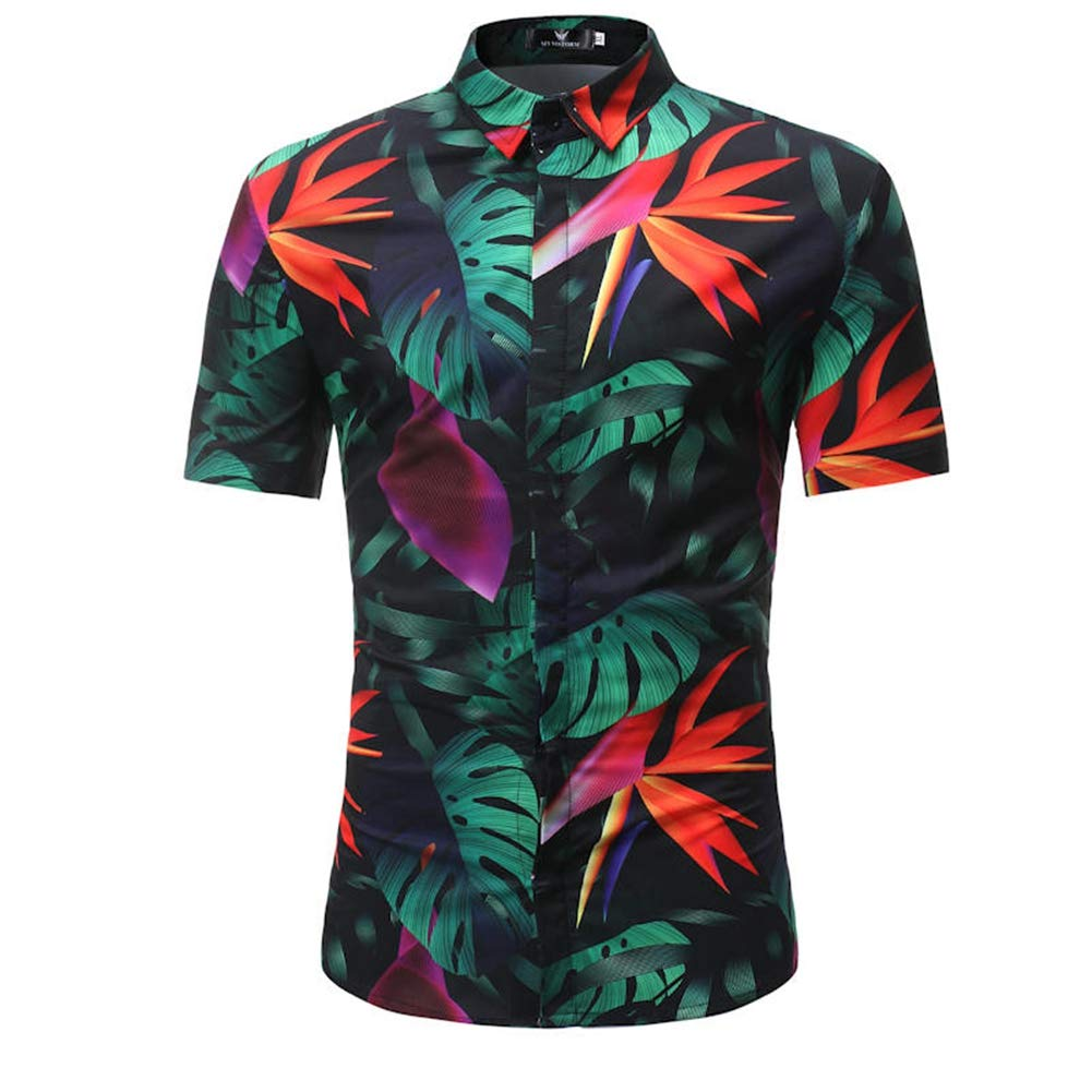 S116,M QHF Mens Hawaiian Printed Shirt Men Shirt Beach Casual Short Sleeve Shirt