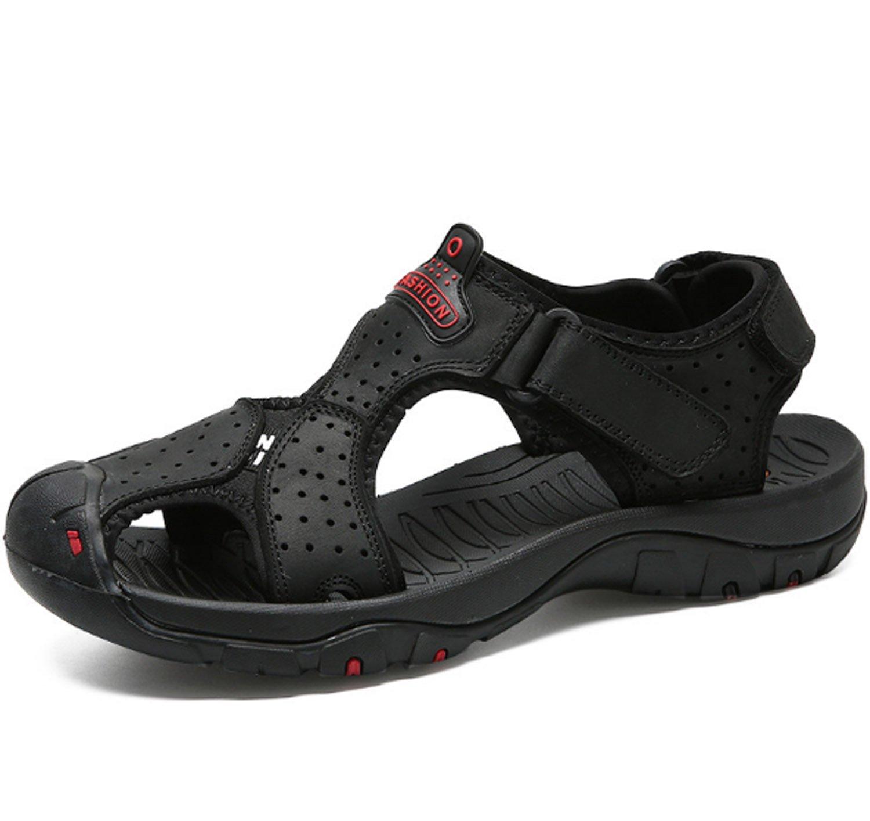 Sandalias de Verano para Hombres Zapatos de Playa de Cuero Slip Respirables Ocasionales Zapatillas de Exterior Chanclas EU46/UK12.5 Negro