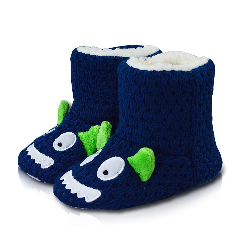 LA PLAGE Girls Indoor/Outdoor Comfy Plush Knit Monster House Boot Slip-on 8-9 US Navy