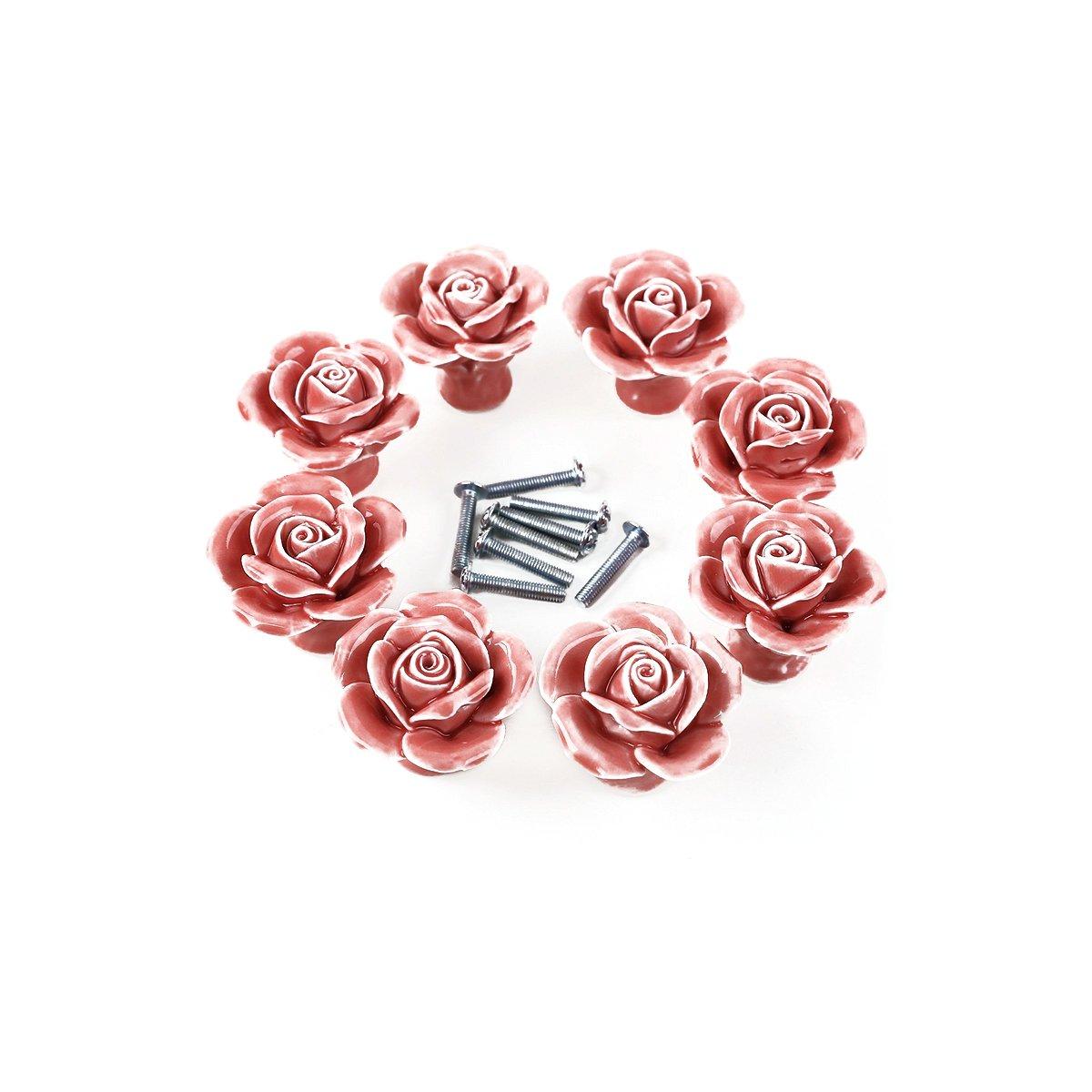 NUOLUX 8pcs Rose Shaped Ceramic Kitchen Cupboard Cabinet Drawer Door Knobs(Pink)