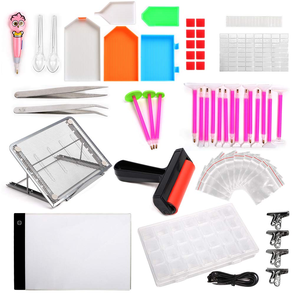 LAMPTOP 58-Pack 5D Diamond Painting Tools and Accessories Kits with Dimmable A4 LED Light Pad Board Adjustable Tablet Stand Roller Pens Cross Stitch and Embroidery Box for DIY Art Craft by LAMPTOP