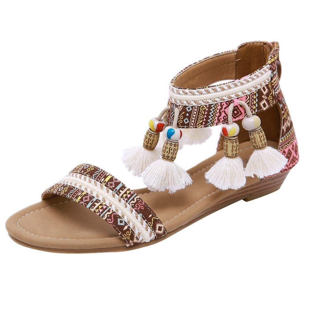 Hermia Women's Ankle Strap Beaded Fringe Gladiator Flat Sandals Summer Boho Shoes (Color : Brown, Size : 5 M US) by Hermia