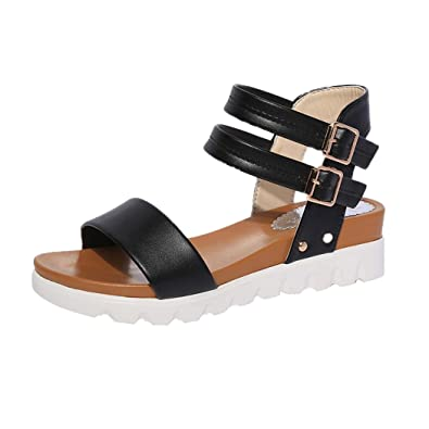 Summer Sandals Inkach Fashion Women Simple Sandals Casual Leather Flat Sandals