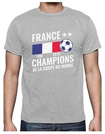 France - Champions Coupe du Monde de Football 2018 T-Shirt Homme Small Gris  Chiné bafd0aaee158