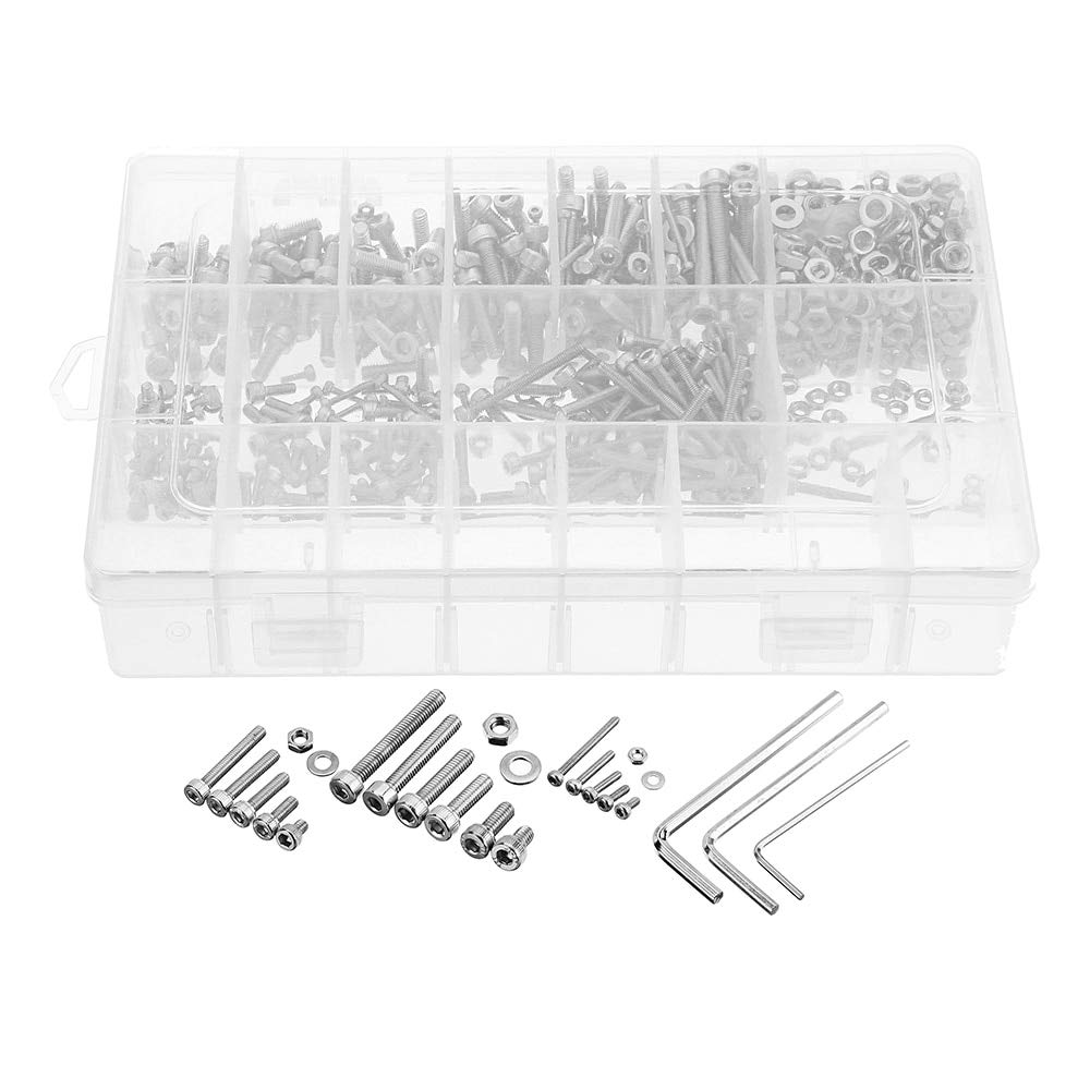 Nut & Bolt - 1080Pcs M2/M3/M4 304 Stainless Steel Hex Socket Head Cap Screw Nuts Flat Washers Kit for Precision Machinery Instruments