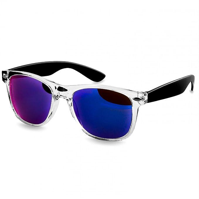 Caspar SG017 Gafas de Sol Retro Unisex - Varios Colores, Color:negro/azul de espejo