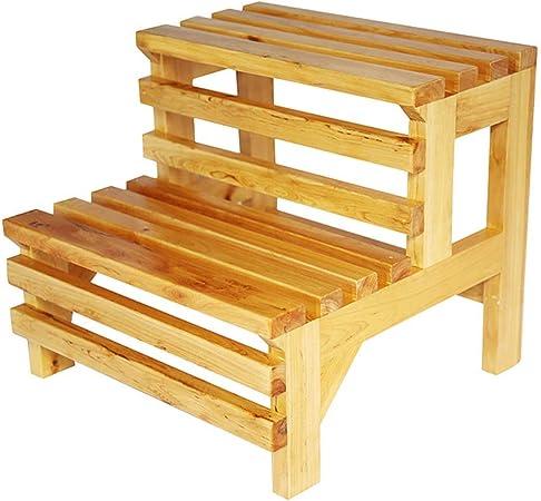 Yuhao Taburete de Escalera Madera Maciza con 2 escalones, Multifuncional, para niños, con Taburete Antideslizante para baño, Capacidad de 100 kg: Amazon.es: Hogar