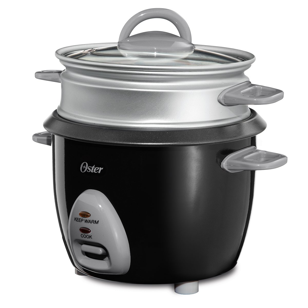 Oster CKSTRCMS65 3-Cup Uncooked resulting in 6-Cup Cooked Rice Cooker with Steam Tray, Black