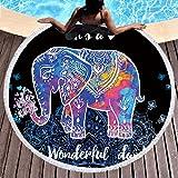 Sleepwish Thick Round Beach Towel Terry, Elephant Beach Blanket, Beach Roundie Circle Yoga Mat with Fringe, Bohemian Elephant Beach Tapestry (Neon Henna, 60'')