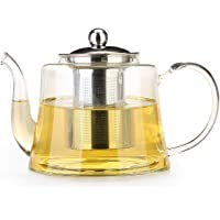 Glass Teapot with Removable Infuser Glass Tea Maker Infusers Holds 1-2 Cups Loose Leaf Iced Blooming or Flowering Tea Filter Stovetop Safe Teapot Kettle