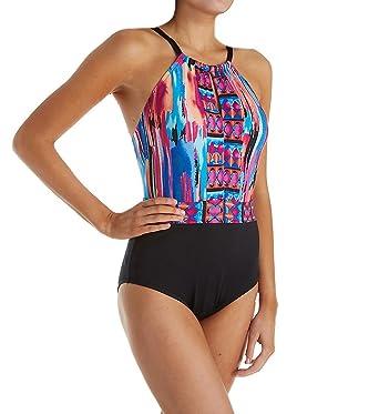 0f44e0049acfa Jantzen Women s Brush Strokes High Neck One Piece Swimsuit at Amazon  Women s Clothing store