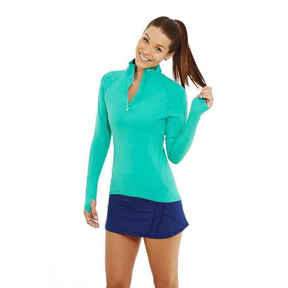 BloqUV Women's Mock Zip Top, Green, X-Small by BloqUV (Image #1)