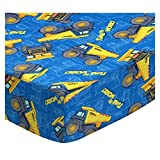 SheetWorld Fitted Crib / Toddler Sheet - Constructions Trucks Blue - Made In USA - 28 inches x 52 inches (71.1 cm x 132.1 cm)