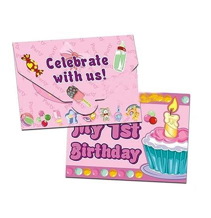 amazon com baby girl 1st birthday invitation cards 20 pcs toys games