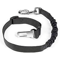 Dog Cat Seat Belt - Elastic Buffer Adjustable Pets Vehicle Harnesses for All Collars, Color: Black, Model: DB-001