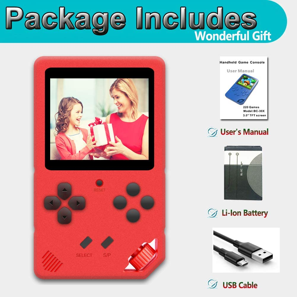 Red Beijue 16 Bit Handheld Games for Children Adults 3.0 Large Screen Preloaded 220 HD Classic Retro Video Games Travel Arcade Entertain System Seniors Electronic Game Player Birthday Xmas Gift
