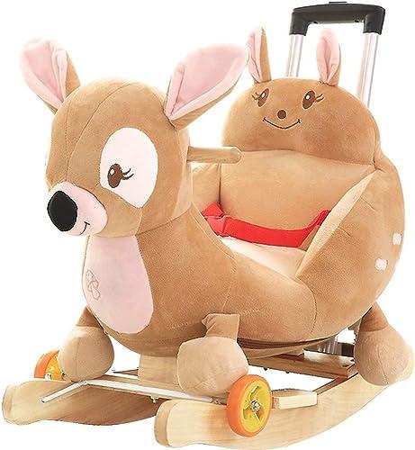 BAOYUANWANG Children's Leisure Chair Rocking Horse Children's Solid Wood Rocking Horse Baby Age