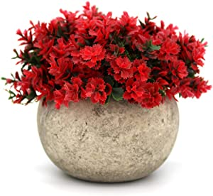 NW Wholesaler Colorful Potted Faux Plants - Small Fake Plants - Red, Pink, and Green Small Artificial Plants for Home Decor (Red)
