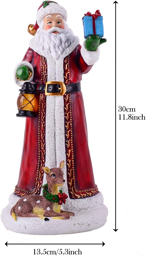12 Polyresin Christmas Santa Claus Figurines With Led Lights Christmas Santa Claus Decorations Classic Collection Splendor Home Kitchen