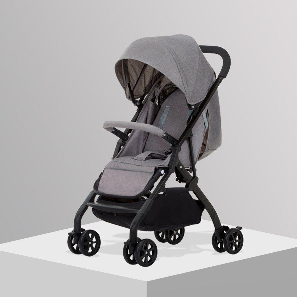 赤ちゃんのおもちゃ超軽量ベビーカーはリクライニングチルドレンの車輪(黒)(青)(グレー)(緑)(ピンク)59 * 35 * 100cm ( Color : Gray ) B07BSZKFS2