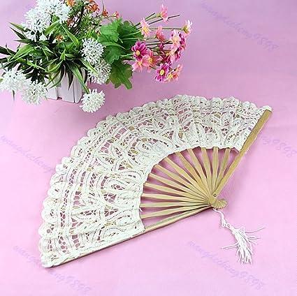 SimpleLife Dame Handgemachte Baumwolle Sonnenschirm Spitze Hand Faltfächer Braut Hochzeit Party Geschenk Beige 53 cm / 20,9'